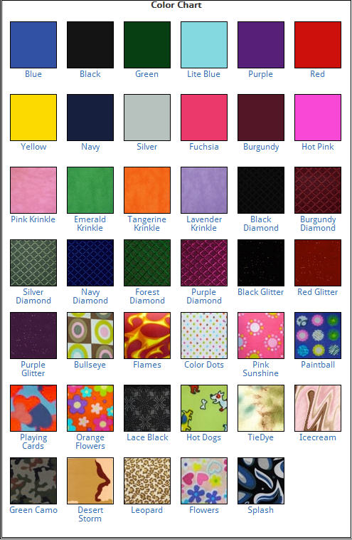 AADCO Custom Color Chart